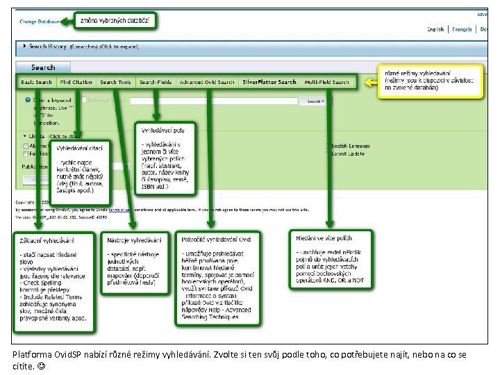 Platforma Ovid. SP nabízí různé režimy vyhledávání. Zvolte si ten svůj podle toho, co