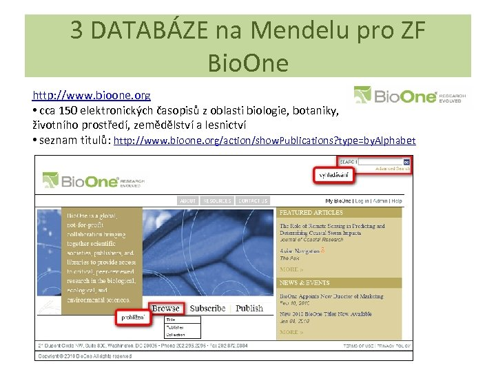 3 DATABÁZE na Mendelu pro ZF Bio. One http: //www. bioone. org • cca