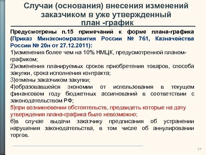 Случаи (основания) внесения изменений заказчиком в уже утвержденный план -график Предусмотрены п. 15 примечаний