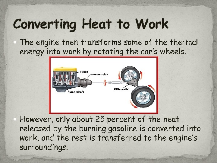 Converting Heat to Work The engine then transforms some of thermal energy into work