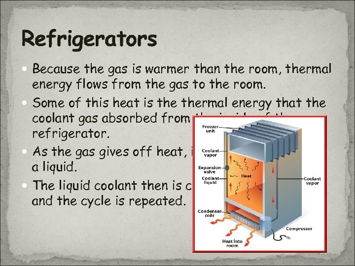 Refrigerators Because the gas is warmer than the room, thermal energy flows from the