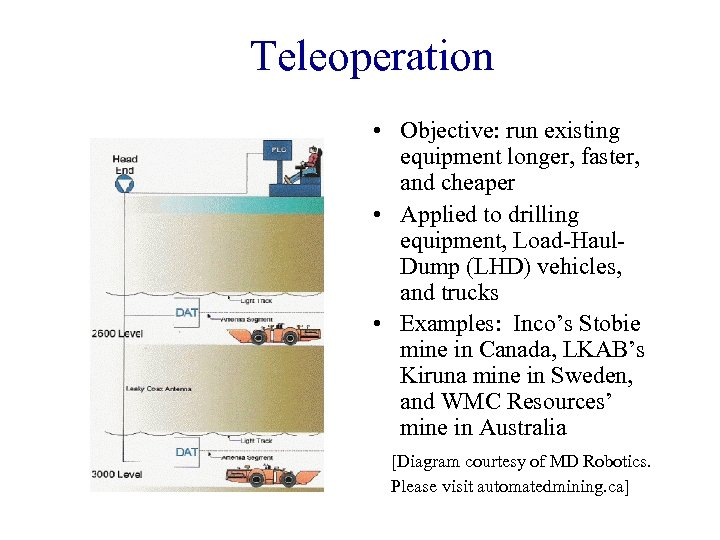 Teleoperation • Objective: run existing equipment longer, faster, and cheaper • Applied to drilling