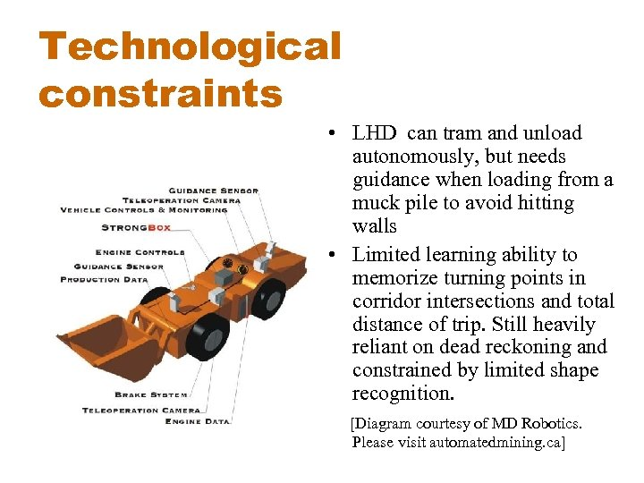 Technological constraints • LHD can tram and unload autonomously, but needs guidance when loading