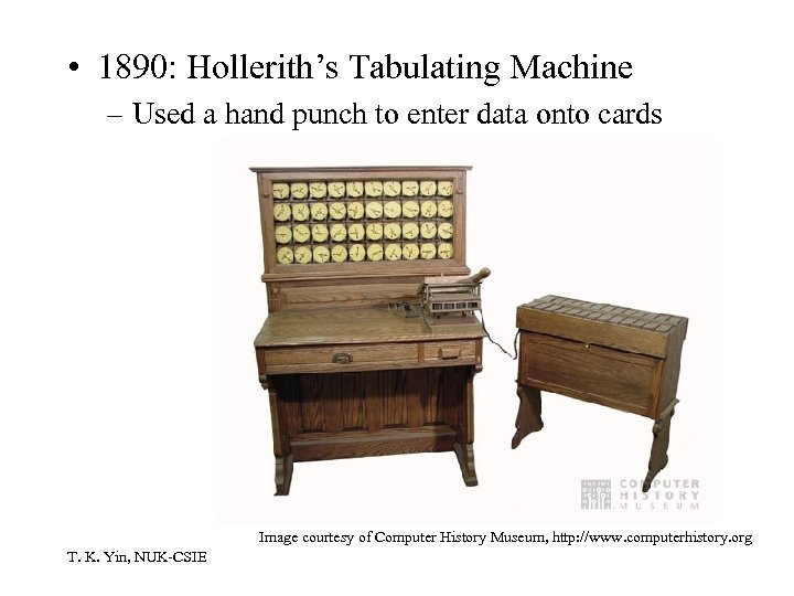 • 1890: Hollerith's Tabulating Machine – Used a hand punch to enter data