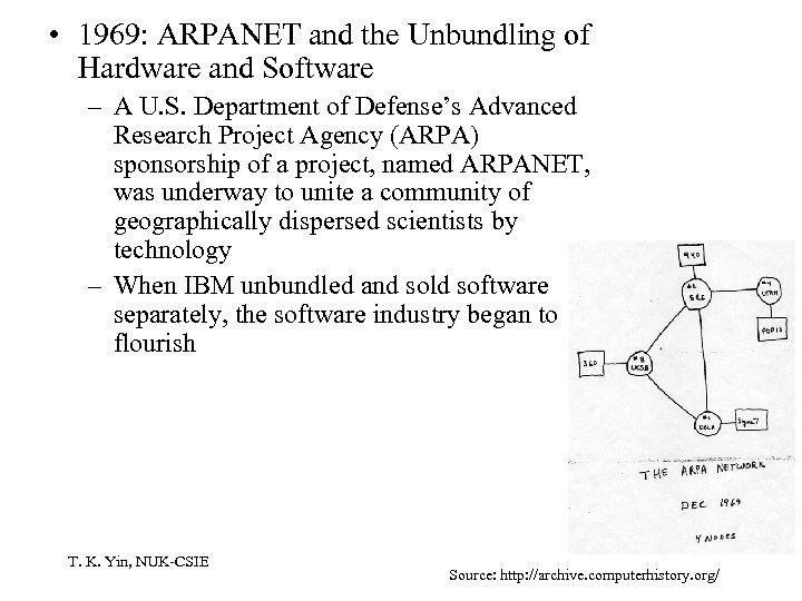 • 1969: ARPANET and the Unbundling of Hardware and Software – A U.