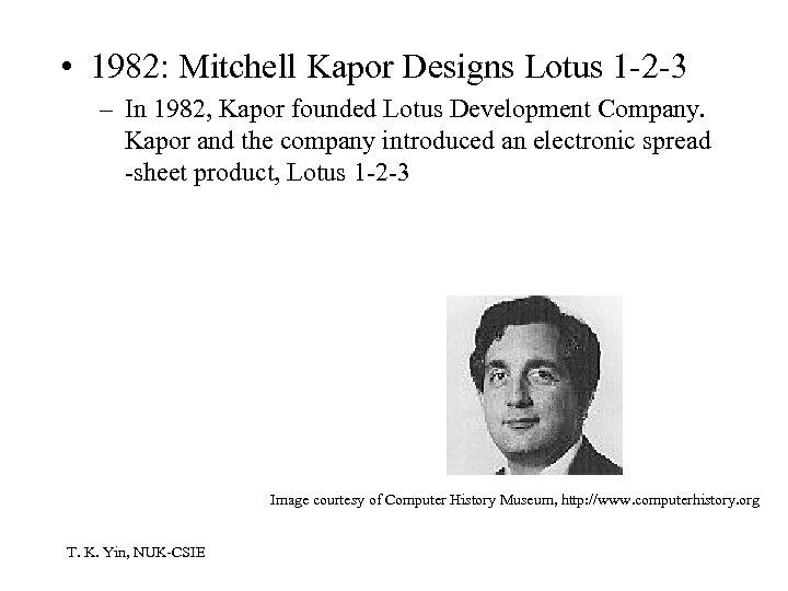• 1982: Mitchell Kapor Designs Lotus 1 -2 -3 – In 1982, Kapor