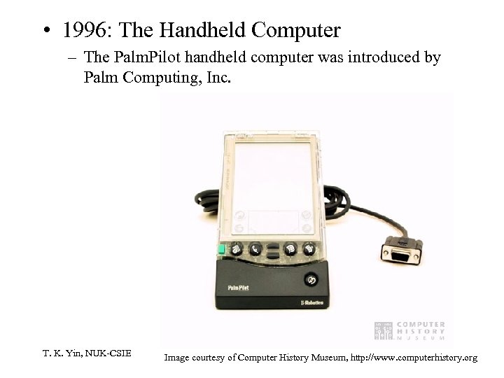 • 1996: The Handheld Computer – The Palm. Pilot handheld computer was introduced