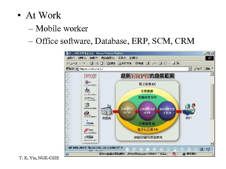 • At Work – Mobile worker – Office software, Database, ERP, SCM, CRM
