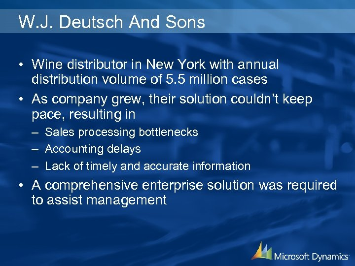 W. J. Deutsch And Sons • Wine distributor in New York with annual distribution