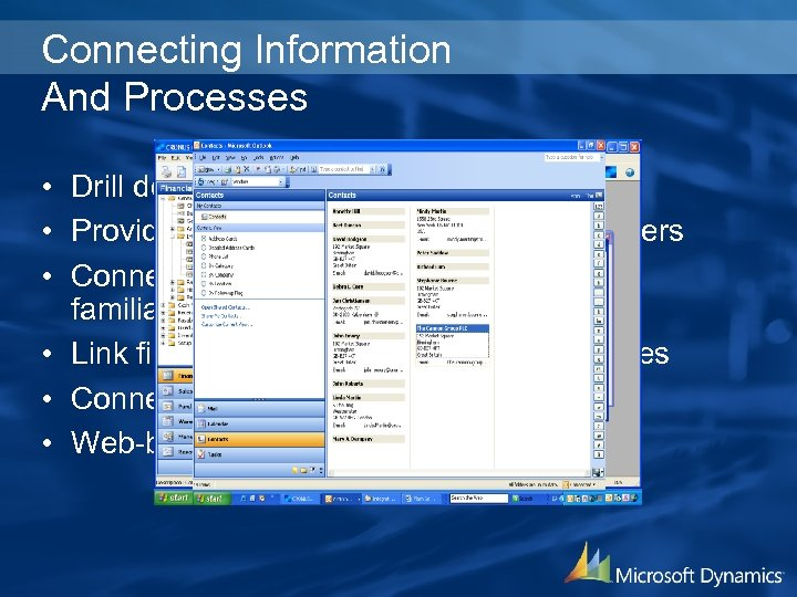Connecting Information And Processes • Drill down to detailed information • Provide precise information