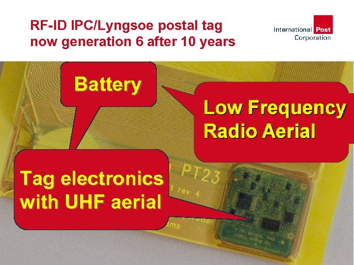 RF-ID IPC/Lyngsoe postal tag now generation 6 after 10 years Battery Tag electronics with