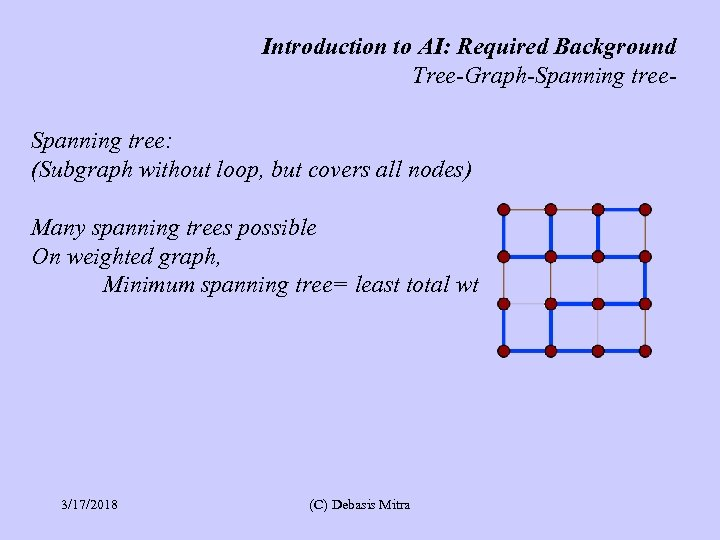 Introduction to AI: Required Background Tree-Graph-Spanning tree: (Subgraph without loop, but covers all nodes)