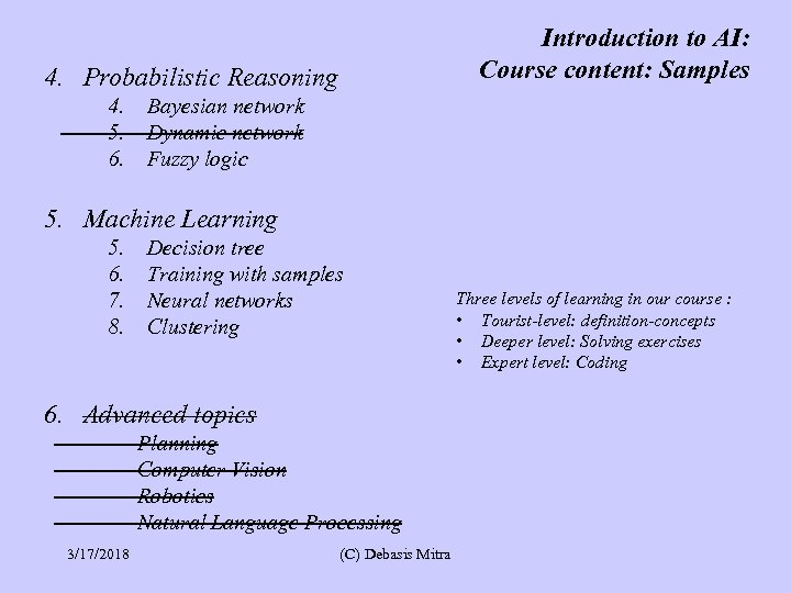 Introduction to AI: Course content: Samples 4. Probabilistic Reasoning 4. 5. 6. Bayesian network
