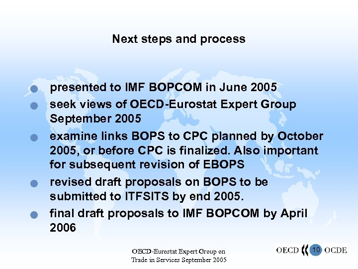 Next steps and process n n n presented to IMF BOPCOM in June 2005