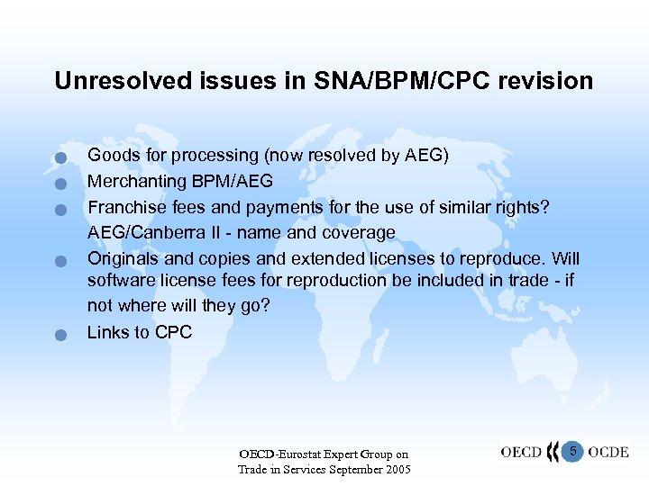 Unresolved issues in SNA/BPM/CPC revision n n Goods for processing (now resolved by AEG)