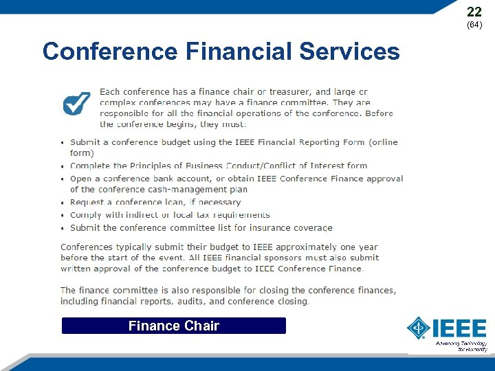 22 (64) Conference Financial Services Finance Chair
