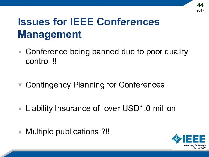 44 (64) Issues for IEEE Conferences Management Conference being banned due to poor quality