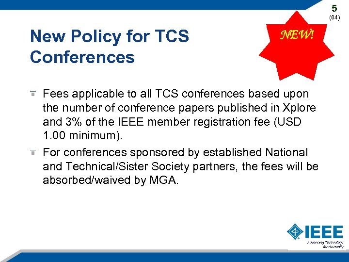 5 (64) New Policy for TCS Conferences NEW! Fees applicable to all TCS conferences
