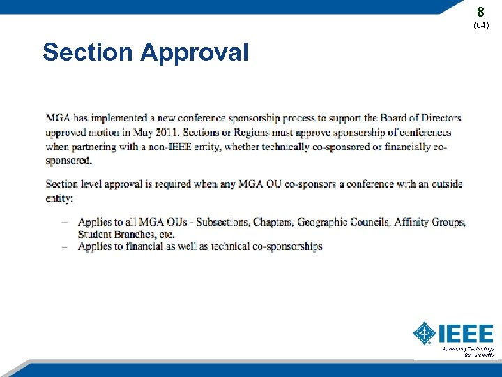 8 (64) Section Approval