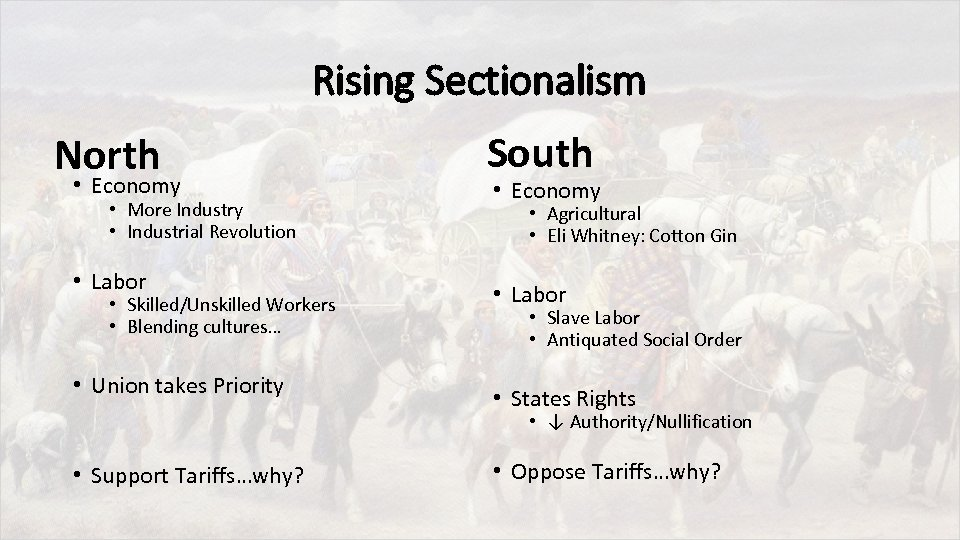 Rising Sectionalism North • Economy • More Industry • Industrial Revolution • Labor •