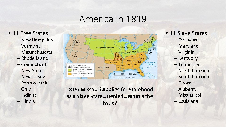 America in 1819 • 11 Free States – New Hampshire – Vermont – Massachusetts