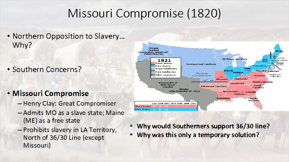 Missouri Compromise (1820) • Northern Opposition to Slavery… Why? • Southern Concerns? • Missouri