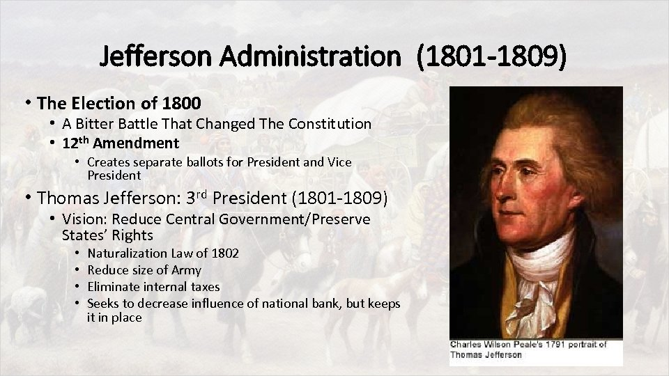 Jefferson Administration (1801 -1809) • The Election of 1800 • A Bitter Battle That