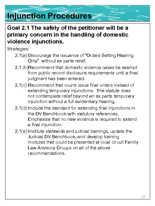 Injunction Procedures Goal 2. 1 The safety of the petitioner will be a primary