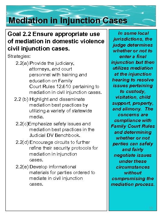 Mediation in Injunction Cases Goal 2. 2 Ensure appropriate use of mediation in domestic