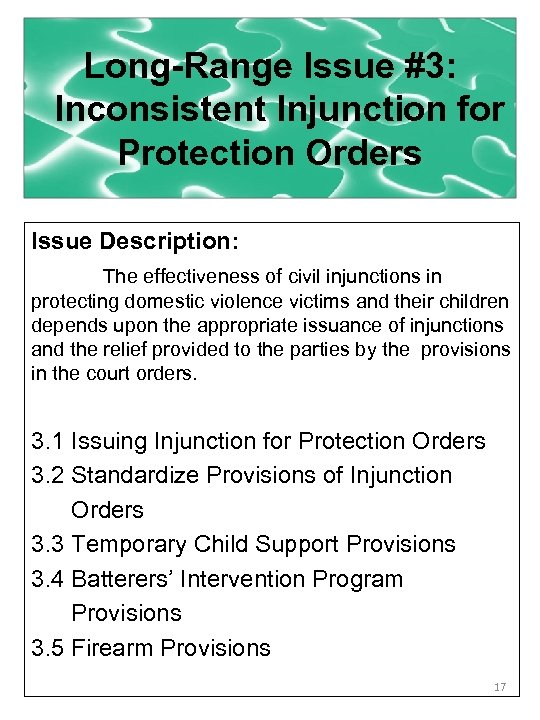 Long-Range Issue #3: Inconsistent Injunction for Protection Orders Issue Description: The effectiveness of civil