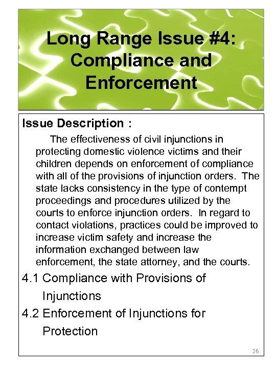 Long Range Issue #4: Compliance and Enforcement Issue Description : The effectiveness of civil