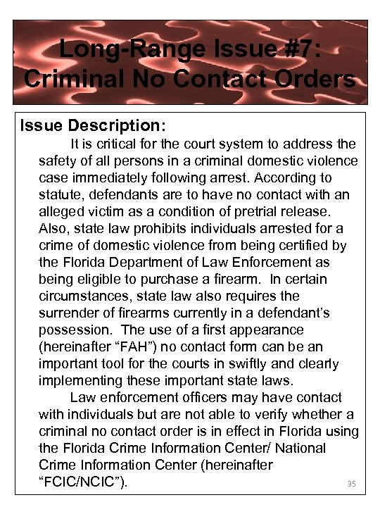 Long-Range Issue #7: Criminal No Contact Orders Issue Description: It is critical for the