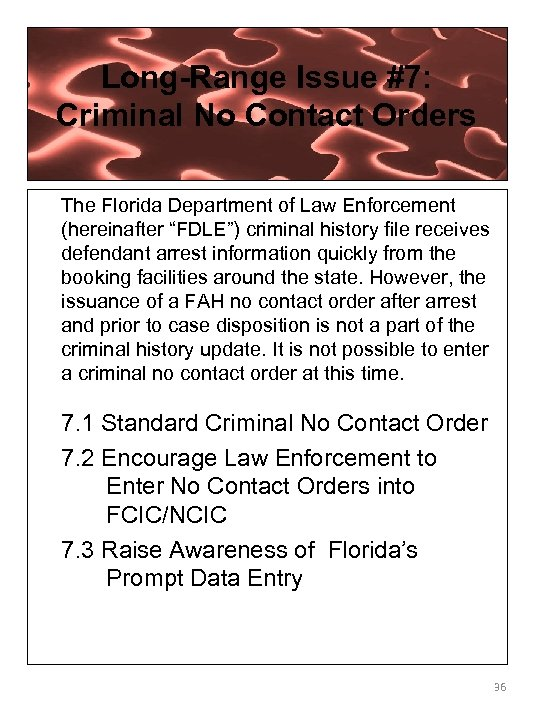Long-Range Issue #7: Criminal No Contact Orders The Florida Department of Law Enforcement (hereinafter