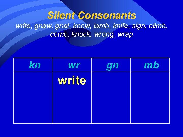 Silent Consonants write, gnaw, gnat, know, lamb, knife, sign, climb, comb, knock, wrong, wrap