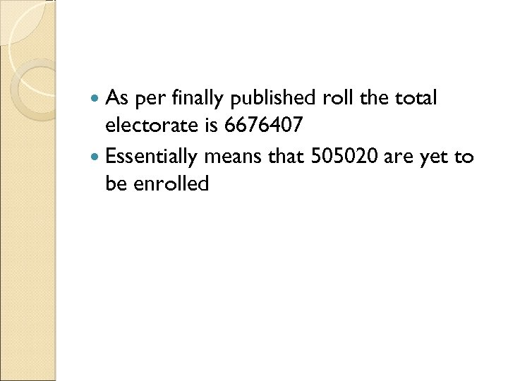 As per finally published roll the total electorate is 6676407 Essentially means that