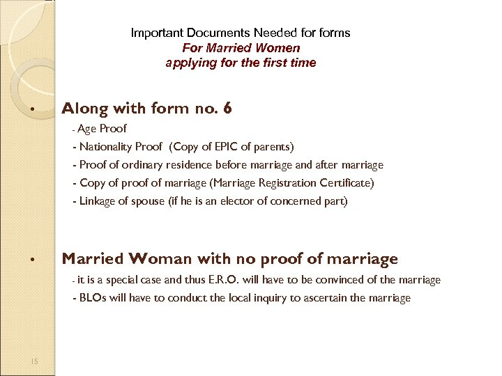 Important Documents Needed forms For Married Women applying for the first time • Along