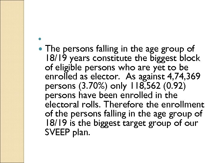 The persons falling in the age group of 18/19 years constitute the biggest
