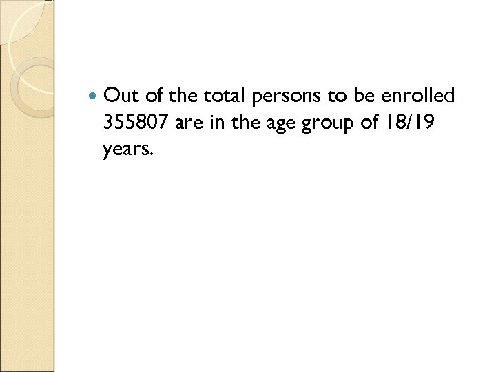 Out of the total persons to be enrolled 355807 are in the age