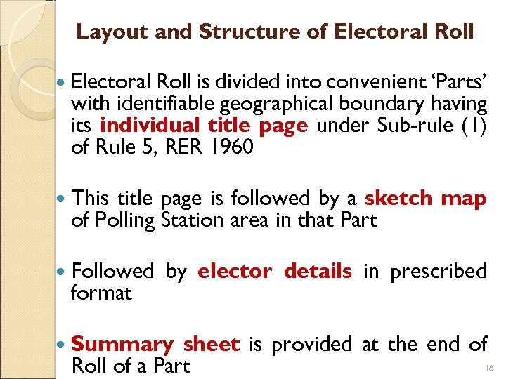 Layout and Structure of Electoral Roll is divided into convenient 'Parts' with identifiable geographical