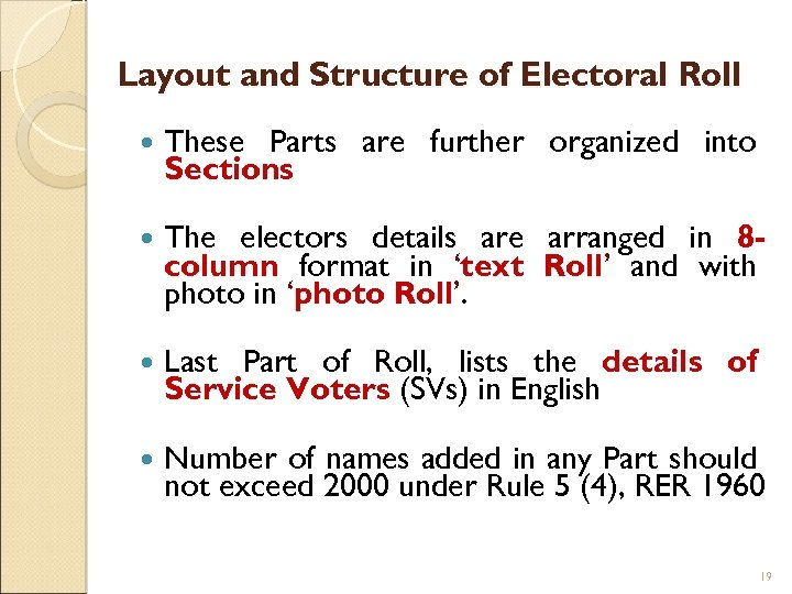 Layout and Structure of Electoral Roll These Parts are further organized into Sections The