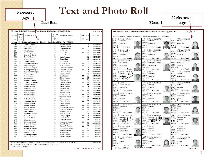 Text and Photo Roll 45 electors a page Text Roll 30 electors a page