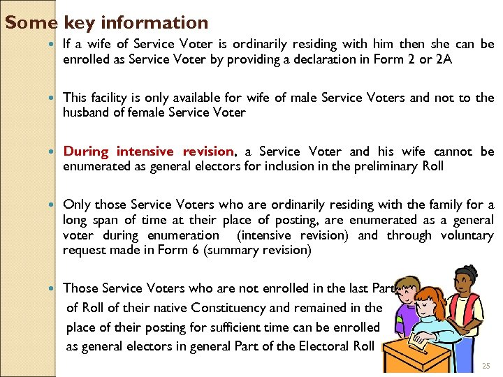 Some key information If a wife of Service Voter is ordinarily residing with him