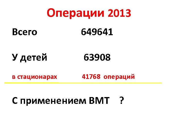 Операции 2013 Всего 649641 У детей 63908 в стационарах 41768 операций С применением ВМТ