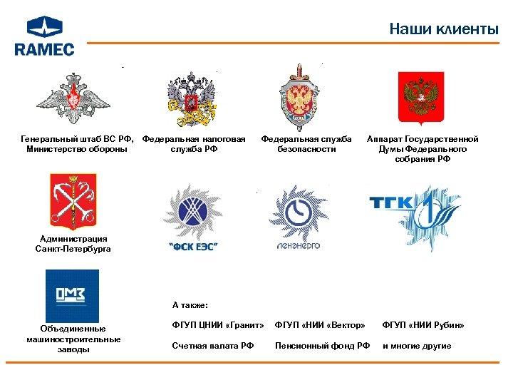 Наши клиенты Генеральный штаб ВС РФ, Министерство обороны Федеральная налоговая служба РФ Федеральная служба
