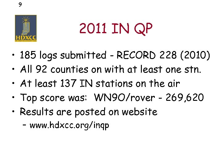 9 2011 IN QP • • • 185 logs submitted - RECORD 228 (2010)