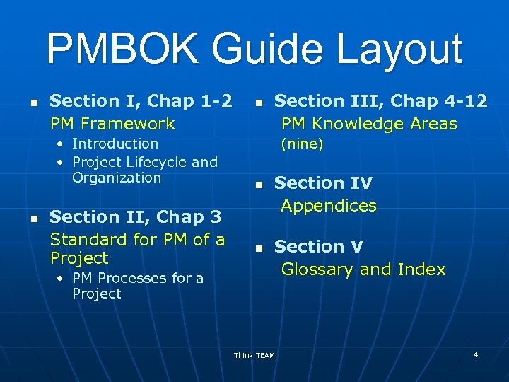 PMBOK Guide Layout n Section I, Chap 1 -2 PM Framework • Introduction •
