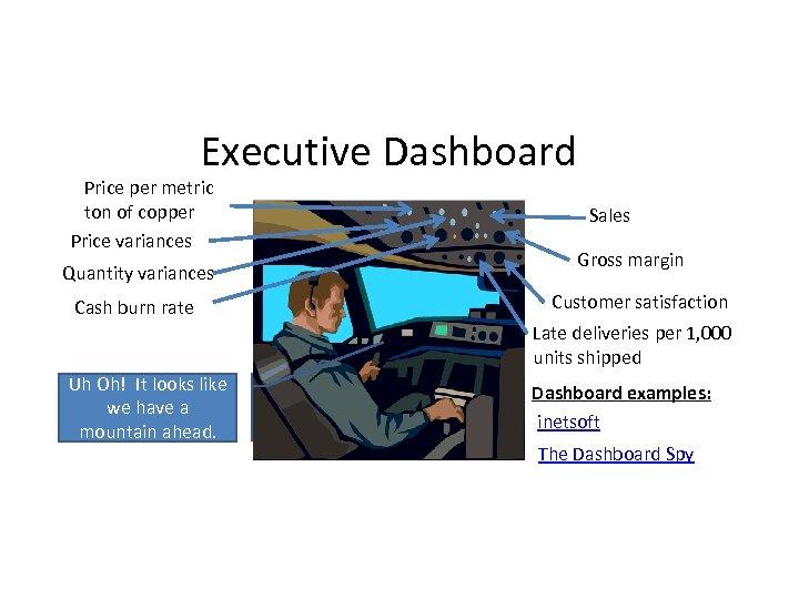 Executive Dashboard Price per metric ton of copper Price variances Quantity variances Cash burn