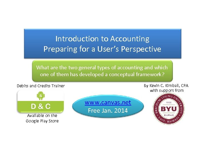 Introduction to Accounting Preparing for a User's Perspective What are the two general types