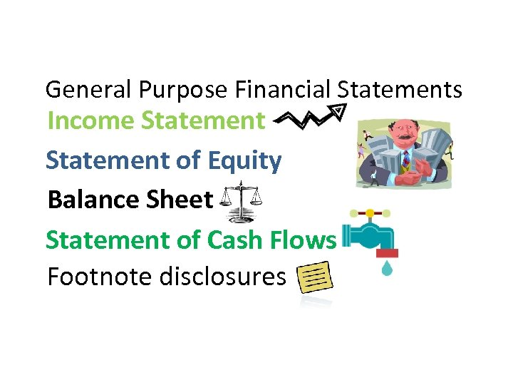 General Purpose Financial Statements Income Statement of Equity Balance Sheet Statement of Cash Flows