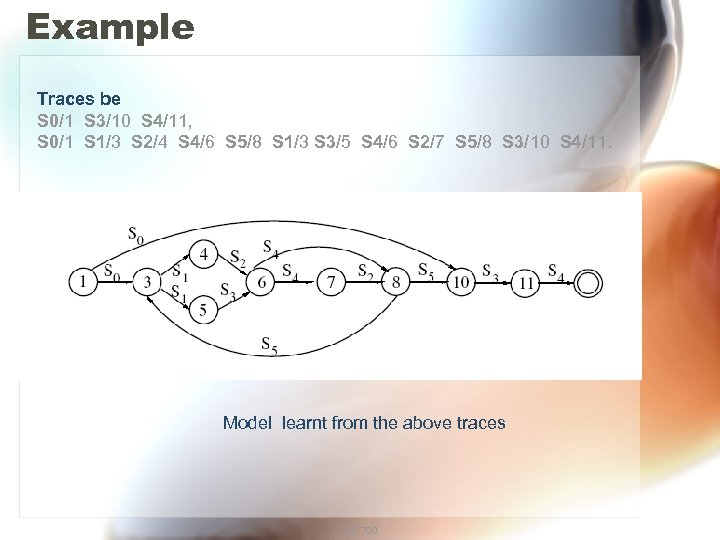 Example Traces be S 0/1 S 3/10 S 4/11, S 0/1 S 1/3 S